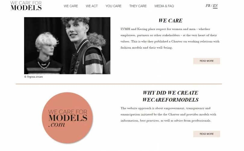 LVMH mette online il sito We care for models